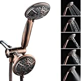 Shower Head, Ukoke USH02B 3 way shower head, 2 in 1 handheld Shower & Fixed Shower head Combo, High Pressure 24 Function Rainfall hand hold Shower with Hose & Wall Mount Dual Shower Head, Bronze