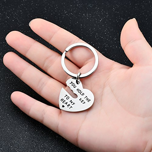 2pcs Couple Key Chain Ring Set - You hold the key to my heart & Forever - Love Heart Key Locks Lover Gift Photo #4