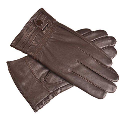 YISEVEN Men's Touchscreen Sheepskin Winter Leather Gloves Skin Tight with Button Genuine Luxury and Warm Hand Heated Fleece Fur Lined for Dress Driving Motorcycle Work Gifts, Brown 9.0