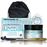 OH! Oral Hygiene | Organic Activated Coconut Charcoal Toothpaste Teeth Whitening Powder Kit | Includes Toothbrush, Two Floss Options, Travel Bag & Shade Guide | 100% Natural, Organic, Vegan, NON-GMO
