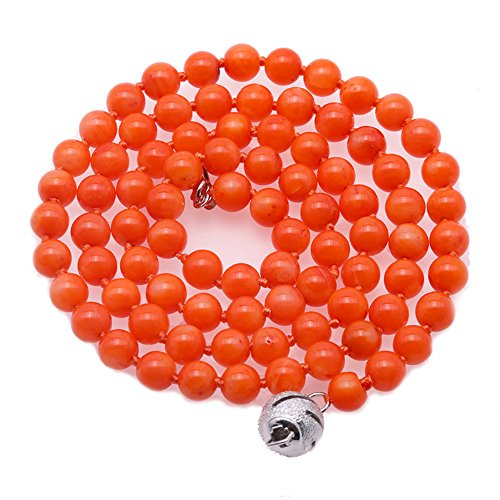 (JYX Orange Coral Necklace Natural 5mm Round Orange Sea Bamboo Coral Beaded Necklace Strand for Women 18