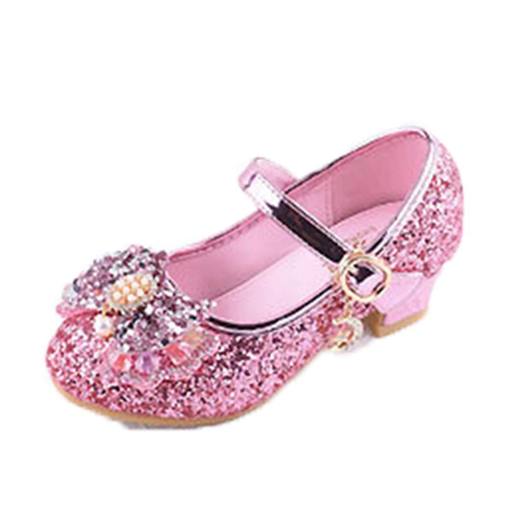 Raylans Girls Glitter Party Wedding Bridesmaids Heel Mary Jane Bow Princess Dress Shoes