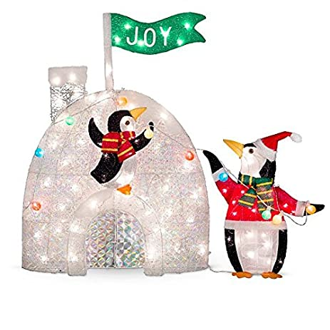 lighted penguins decorating igloo outdoor christmas decoration