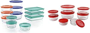 Pyrex Simply Store Meal Prep Glass Food Storage Containers (24-Piece Set, BPA Free Lids, Oven Safe) & Simply Store Meal Prep Glass Food Storage Containers (16-Piece Set, BPA Free Lids, Oven Safe)