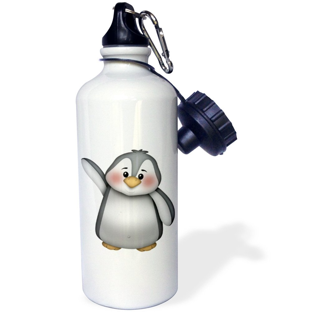 3dRose wb/_217071/_1 Cute Waving Gray And White Penguin Illustration Sports Water Bottle 21 oz Multicolor