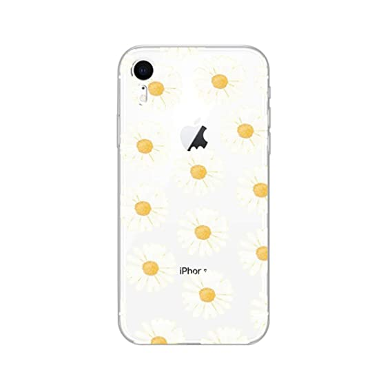 detailed look 842b0 aa653 iPhone XR Case,Blingy's New Cute Floral Style Transparent Clear Soft TPU  Protective Case Compatible for iPhone XR (Daisies)