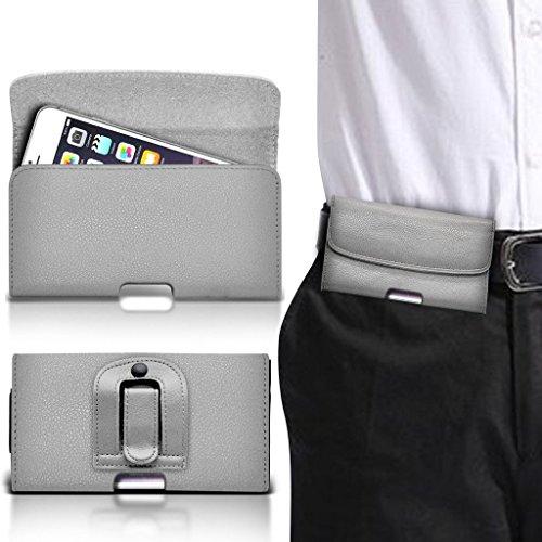 (Gray horizontale Band 153,3 x 76,1 mm) Fall für Leagoo T5 Fall (PU) Leder-Gurt-Klipp-Beutel-Fall-Schlag-Abdeckung Holster Mit Magnetic Buttons von i-Tronixs Belt Flip (Brown)