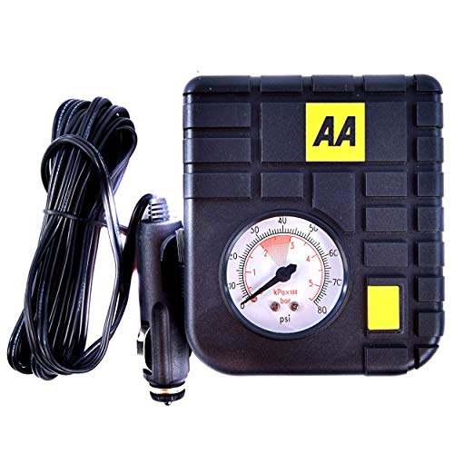 AA 12 V Compact Tyre Inflator AA5007 – For Cars Other Vehicles Inflatables Bicycles – Shows PSI BAR KPA 0-80 PSI…