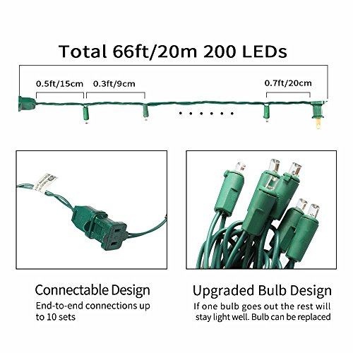 XTF2015 Led Christmas Lights, Upgraded End-to-End Plug 66ft 200 LEDs Christmas String Lights - UL Certified - Indoor Outdoor Tree Lights for Garden Wedding Party and Holiday Decoration, Warm White by XTF2015 (Image #2)