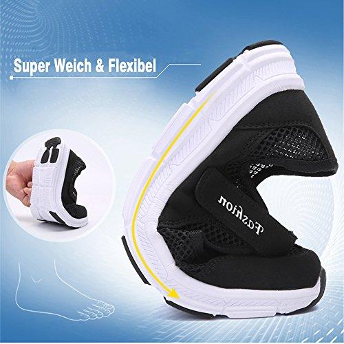 Atmungsaktive Pastaza Casual Schuhe Weich Klettverschluss mit Fitnessschuhe Halbschuhe Damen Flache Schwarz Outdoor Mesh Leicht Walking UqxUfHw