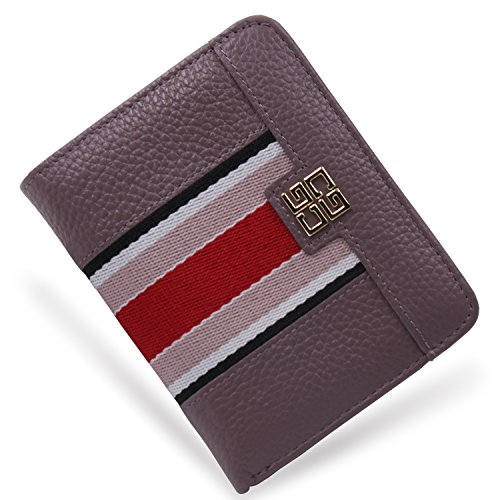Women's Small Compact Bi-fold Leather Pocket Wallet Credit Card Holder Case with ID Card Window (New (Pebbled Leather Snap Wallet)