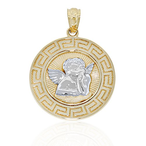 Gold Guardian Angel Charm (Gold Guardian Angel Medallion Charm, Greek Key Pattern, 14k Solid Gold)