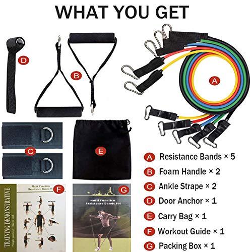 Resistance Bands Set, Widerstandsbänder Set Fitnessbänder Latex 150LBS für Fitness Muskelaufbau Yoga Pilates, Expander Tubes Bänder Heim-Fitnessgeräte für Männer/Frauen