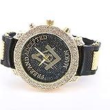 Gerosse Masonic Classic Men's Luxury Gold Watch, Crystal Diamond Dial Gold Steel Quartz Wrist Watch, Big Deal Hip Hop Watch (black case balck band)
