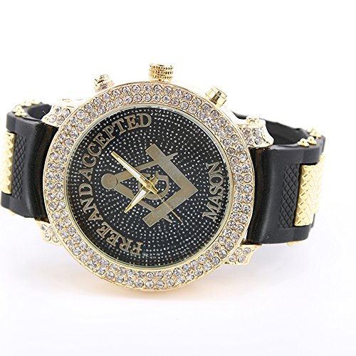 Classic Watch Band Compass (Gerosse Masonic Classic Men's Luxury Gold Watch, Crystal Diamond Dial Gold Steel Quartz Wrist Watch, Big Deal Hip Hop Watch (black case balck band))