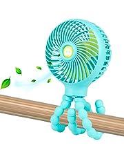 Mini Handheld Personal Portable Fan, Baby Stroller Fan, Car Seat Fan, Desk Fan, with Flexible Tripod Fix on Stroller Student Bed Bike Crib Car Rides, USB or Battery Powered
