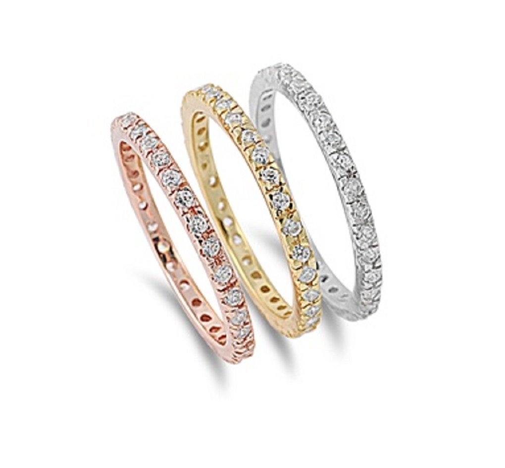 CloseoutWarehouse Clear Cubic Zirconia Set of 3 Stackable Eternity Ring Tri Color Plated Sterling Silver Size 10