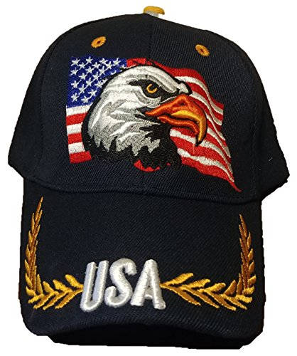 Patriotic American Eagle and American Flag Baseball Cap USA 3D Embroidery (Black) ()
