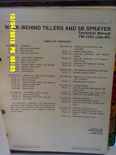 John Deere Technical Manual-1233 Walk Behind Tillers & 5B Sprayer