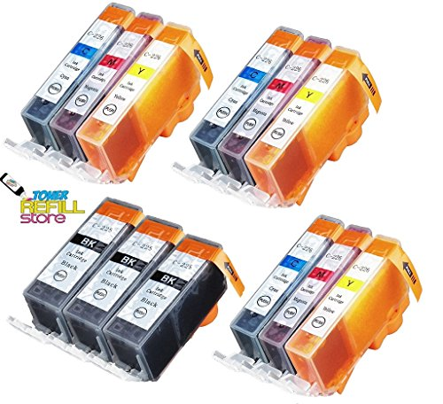 (Toner Refill Store Compatible Ink Cartridge Replacement for the Canon PGI-225BK, CLI-226C, CLI-226M, CLI-226Y. (3BK, 3C, 3M, 3Y, 12-Pack))