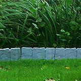 Valla para jardín 10 piezas 250 cm plástico diseño de piedra