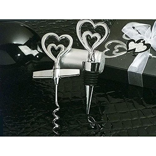 Two Hearts Are Better Than One Wine Opener / Bottle Stopper Set - 24 Sets by Cassiani