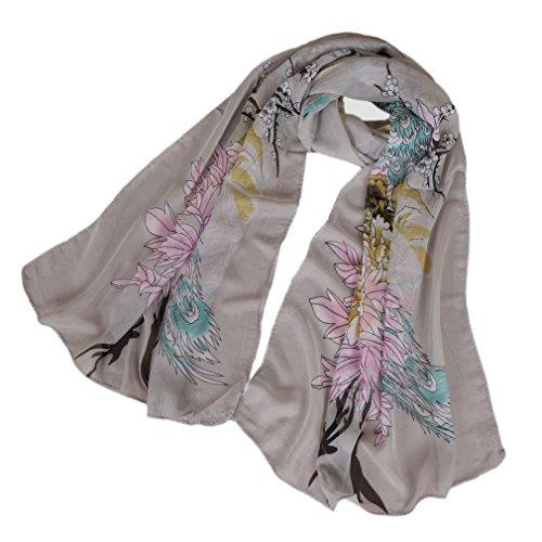 LMVERNA floral birds scarf for women printe chiffon silk scarves fashion spring shawls (Light grey)