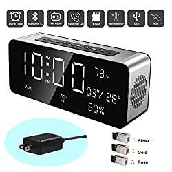 Orionstar Wireless Bluetooth Alarm Clock Radio Speaker with HD Sound&Big Digital Screen Compatible with iPhone/Android/PC4/Aux/MicroSD/TF/USB for Bedroom Office Model A10 with Wall Charger (Silver)