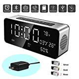 Orionstar Portable Bluetooth Alarm Clock Radio Speaker with HD Sound&Big Digital Screen Compatible with iPhone/Android/PC4/Aux/MicroSD/TF/USB for Bedroom Office Model A10 Silver with Wall Charger