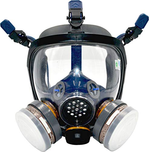 Organic Vapor Respirator full face gas mask with Double Activated Carbon Air Filter (Black) ()