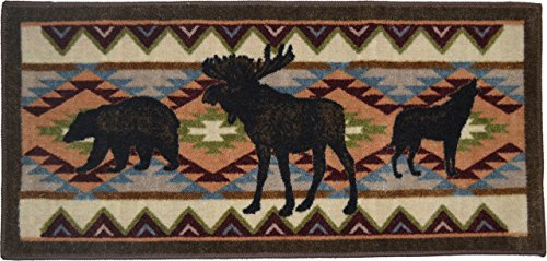 Wholesale Rug Source Cozy Cabin Woodland Party Nonskid (Non Slip) Cute Lodge Kitchen Mat Rug, 20