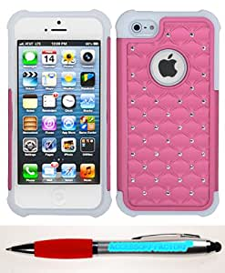 Accessory Factory(TM) Bundle (Phone Case, 2in1 Stylus Point Pen) APPLE iPhone 5s Pink Solid White Luxurious Lattice Dazzling TotalDefense Protector Cover