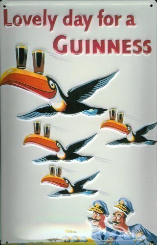 Guinness At Home Can on Armchair embossed steel sign 300mm x 200mm hi