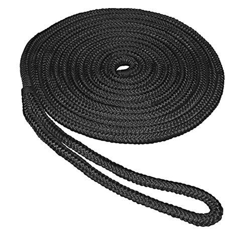 SeaSense Double Braid Nylon Dockline, 1/2-Inch X 15-Foot, Black