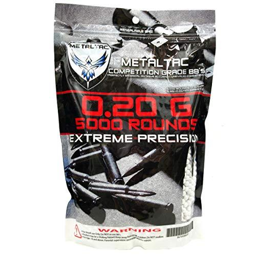 MetalTac Airsoft BBs .20g Pellets BB de 6 mm de alta precisión y grado perfecto (bolsa de 5000 balas)