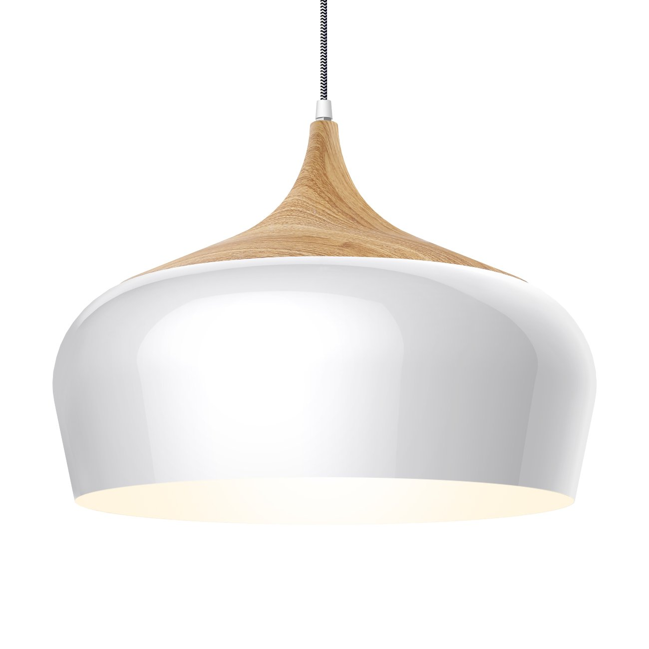 tomons Modern Style Wood Pattern Ceiling Lights, Pendant Light with 8W LED Lamp Bulb for Dining Room, Kitchen, Coffee Bar, Living Room, Study Room - PL1001
