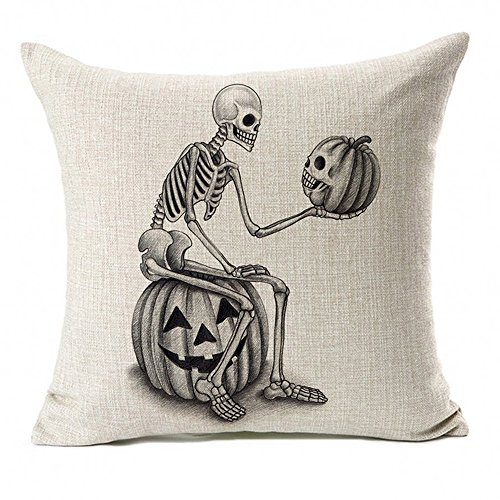 Euone  Halloween Clearance, Pillow Case Skull Pumpkin Throw Cushion Cover Home Decor 18x18inch Pillowcases ()