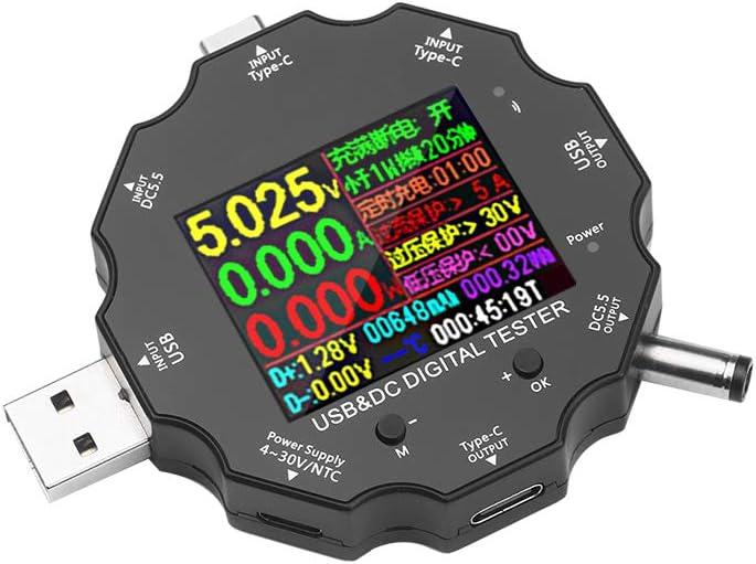 White Tester Multimeter Type‑C Tester Multifunctional Bidirectional Current Voltage DC Digital Voltmeter Load Impedance Measurement