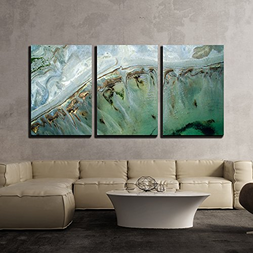 wall26 - 3 Piece Canvas Wall Art - Turquoise Landscape of Tropical Sea - Modern Home Decor Stretched and Framed Ready to Hang - 16