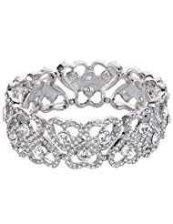 Ever Faith Silver-Tone Austrian Crystal Sweet Love Heart Bridal Elastic Stretch Bracelet Clear