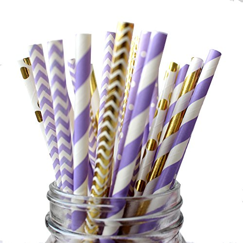 IPALMAY Purple and Gold Biodegradable Drinking Paper Straws,