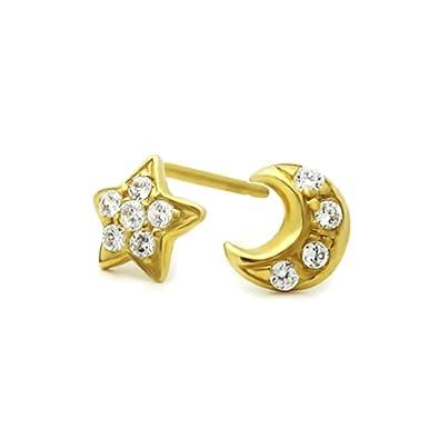 b83ee0e4d Amazon.com: 14K Yellow Gold Moon & Star Screwback Stud Earrings: Jewelry