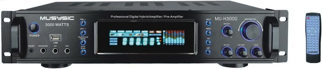 3000 Watts Hybrid Power Pre Amplifier AM / FM Receiver USB Slot MP3 / iPod Input Preamp
