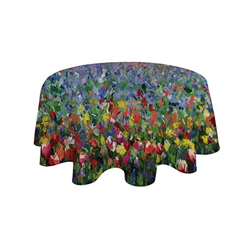 YOLIYANA Art Waterproof Round Tablecloth,Rural Landscape with Bunch of Tulip Flower Spring Meadow Refreshing Botany Blurry Image Decorative for Living Room,55.1