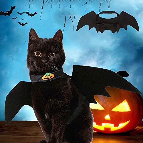 Vikedi Cat Halloween Costume with Cat Collar Bow Tie, Cat Bat Wings for Halloween Party Cosplay Decoration, Pet Costumes Apparel for Cat Small Dogs 20
