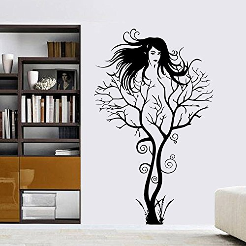 Amaonm® Fashion Black Tree Vine and Black Beautiful Sexy Girl Wall Decals Removable Vinyl Home Decoration Art Decor Wall Stickers & Murals Decorative Painting Supplies & Wall Treatments