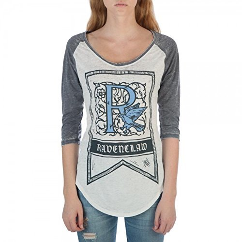 Harry Potter Ravenclaw House Crest Flag Juniors 3/4 Sleeve Raglan T-Shirts (Junior Womens Raglan Shirt)