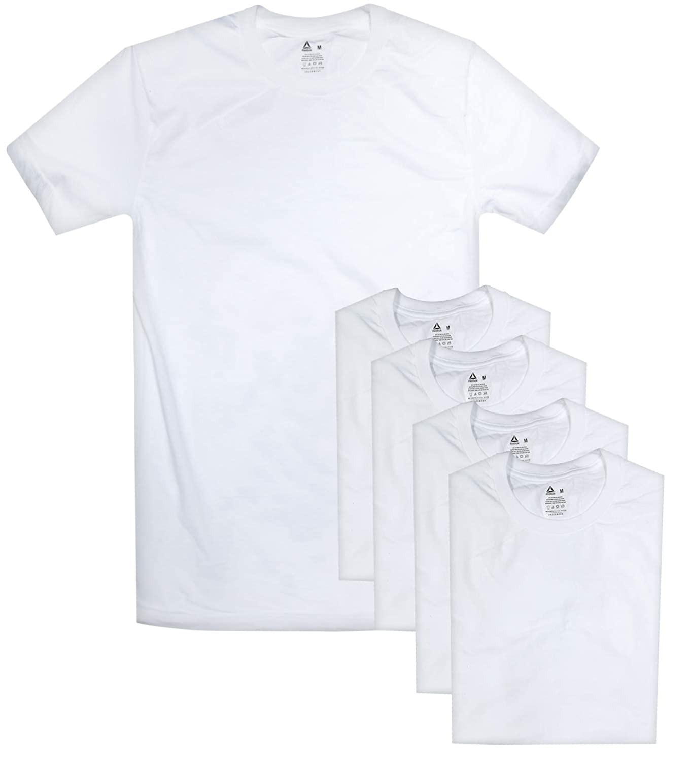 Reebok Men's Crew Neck T-Shirt (5 Pack), White, Small at Amazon Men's  Clothing store: