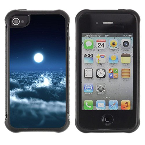 Apple Iphone 4 / 4S - Bright Moon Clouds Blue Sky Heaven Art Space