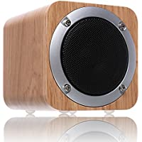 Wireless Speakers Wooden, ZENBRE F3 6W Portable Bluetooth 4.0 Speakers with 70mm Big-Driver, Wireless Computer Speaker with Enhanced Bass Resonator (White Oak)